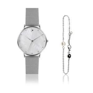 Set dámských hodinek a náramku z nerezové oceli ve stříbrné barvě Emily Westwood Dots