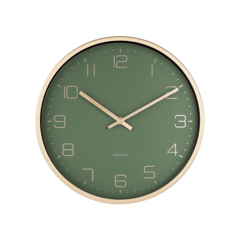 Zelené nástěnné hodiny Karlsson Elegance