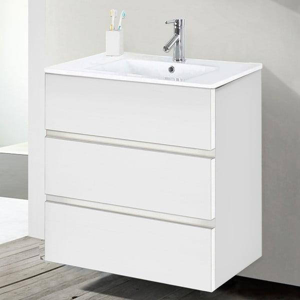 Koupelnová skříňka s umyvadlem a zrcadlem Nayade, odstín bílé, 60 cm