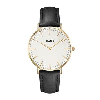 Ceas damă, curea din piele Cluse La Bohéme, negru-auriu imagine