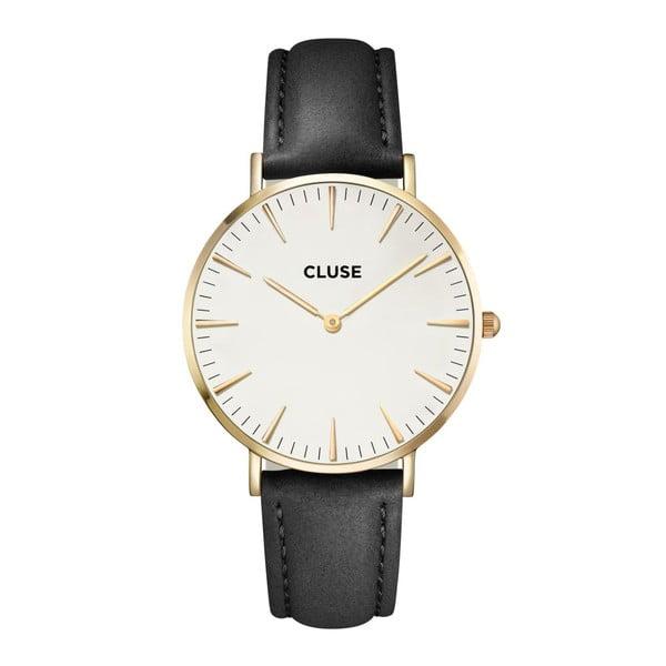 Ceas damă cu curea din piele şi detalii aurii Cluse La Bohéme, negru