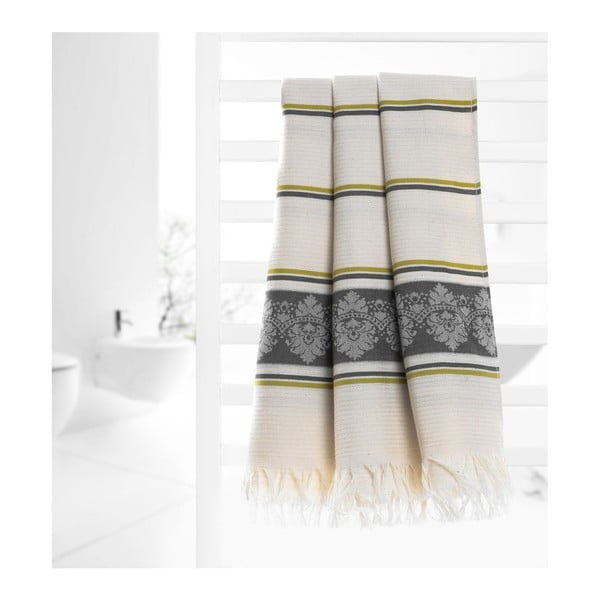 Prosop hammam Deco Bianca Loincloth Stripe Nurbanu, 80 x 170 cm, gri - bej