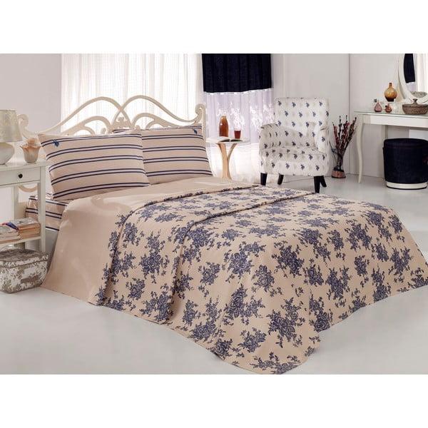 Sada přehozu přes postel a prostěradla US Polo 200x220 cm, Cream and Lilac