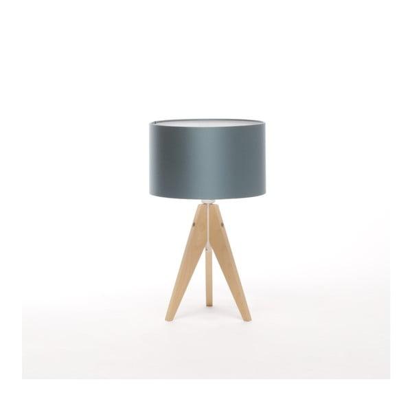 Modrá stolní lampa Artist, bříza, Ø 25 cm