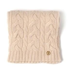 Béžová pletená kašmírová šála Bel cashmere Brad, 180x30cm