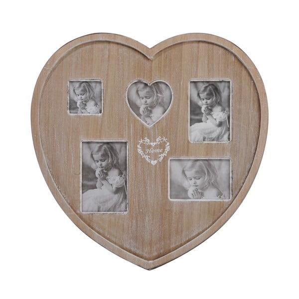 Dřevěný fotorámeček na 5 fotek Heart