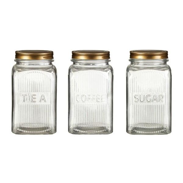 Embossed cukor-, kávé- és teatartó doboz szett, aranyszínű részletekkel - Premier Housewares