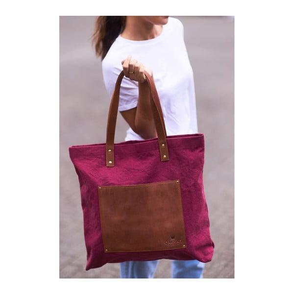 Vínová kožená vintage maxi taška O My Bag Lou's