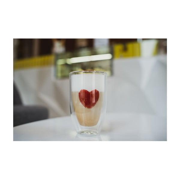 Sada 2 sklenic z dvojitého skla s potiskem Vialli design, 350 ml