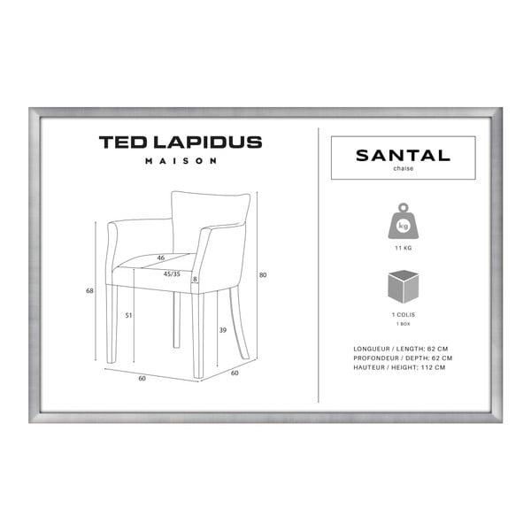 Cihlově červená židle s černými nohami z bukového dřeva Ted Lapidus Maison Santal