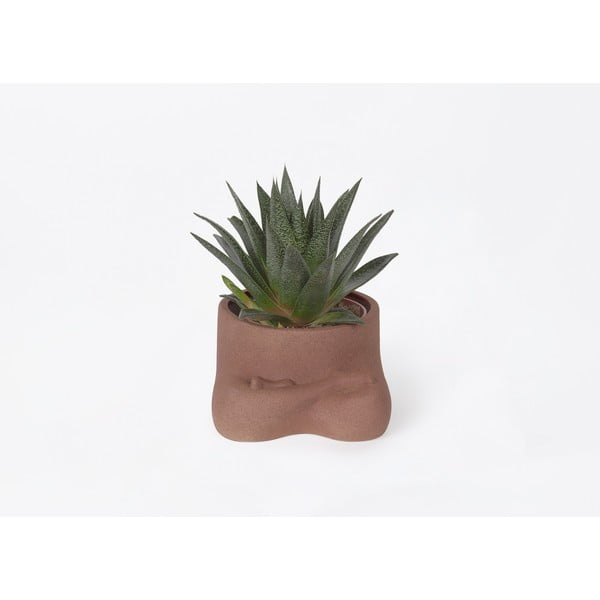 Hnědý keramický květináč DOIY Namaste, výška 8,5 cm