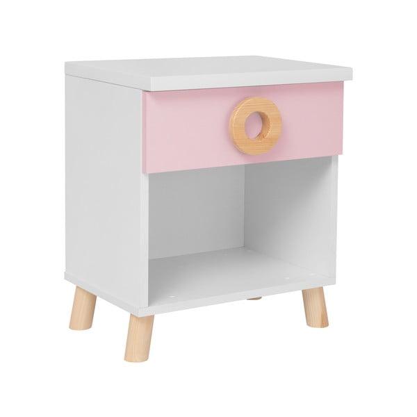 Circle rózsaszín-fehér éjjeliszekrény - KICOTI