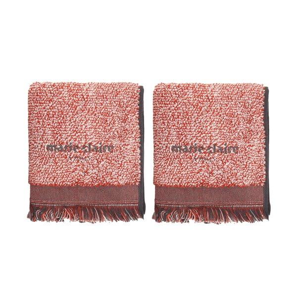 Komplet 2 czerwonych bawełnianych ręczników Marie Claire Colza, 40x60 cm