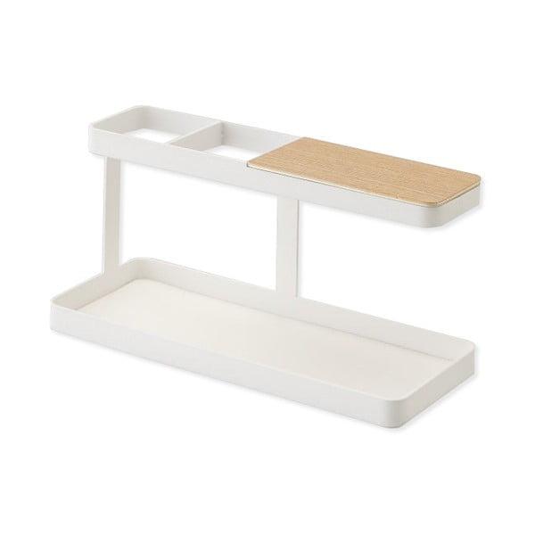 Bílý multifunkční stojánek s detailem z bukového dřeva YAMAZAKI Tower Desk Bar
