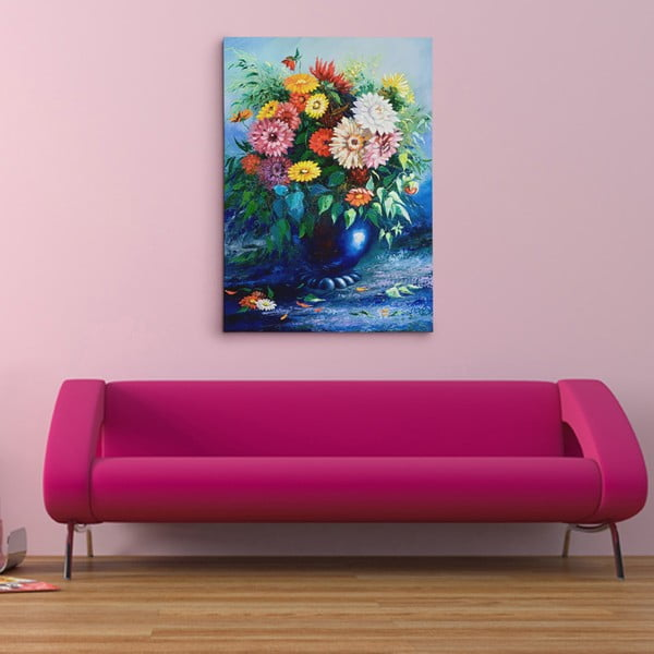 Obraz na plátně Modrá váza s květinami, 50x70 cm