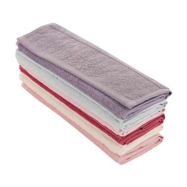 Sada 6 barevných ručníků z čisté bavlny Colours, 30 x 50 cm