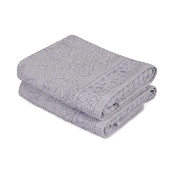 Sada 2 modrých bavlnených uterákov na ruky Catherine, 50×90cm