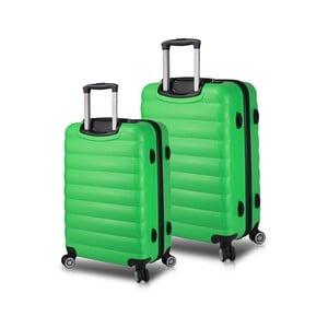 Sada 2 zelených cestovních kufrů na kolečkách s USB porty My Valice RESSNO Cabin & Medium