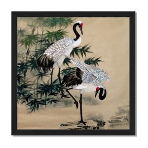 Obraz v rámu Liv Corday Asian Orietnal Cranes, 40x40cm