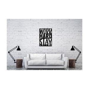 Černá nástěnná dekorace Oyo Concept Work Hard, 40x60cm