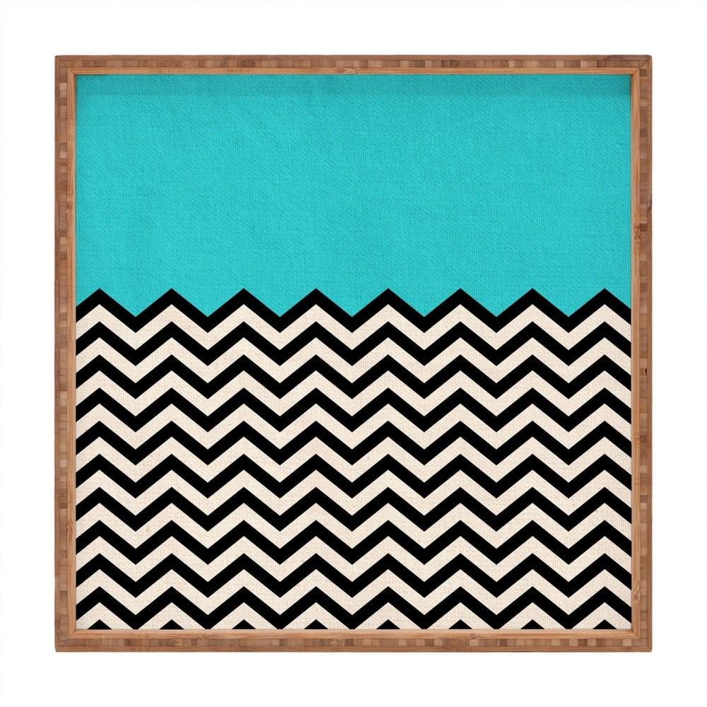 Dřevěný dekorativní servírovací tác Azzure, 40 x 40 cm