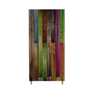 Dřevěná šatní skříň Ursula Rainbow