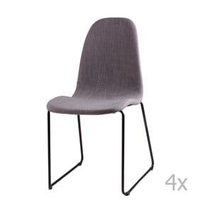 Sada 4 světle šedých jídelních židlí sømcasa Helena