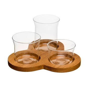 Tavă cu boluri Sagaform Oval Oak Serving Set de la Sagaform