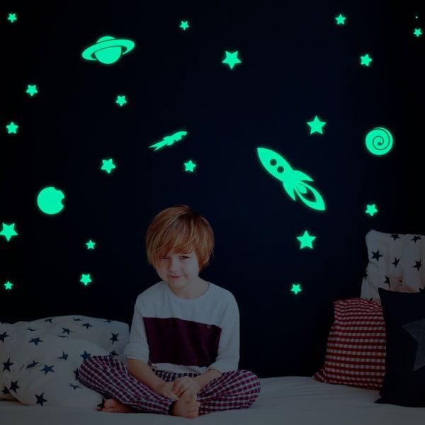 Set autocolante fosforescente de perete Ambiance Rocket Stars and Planets