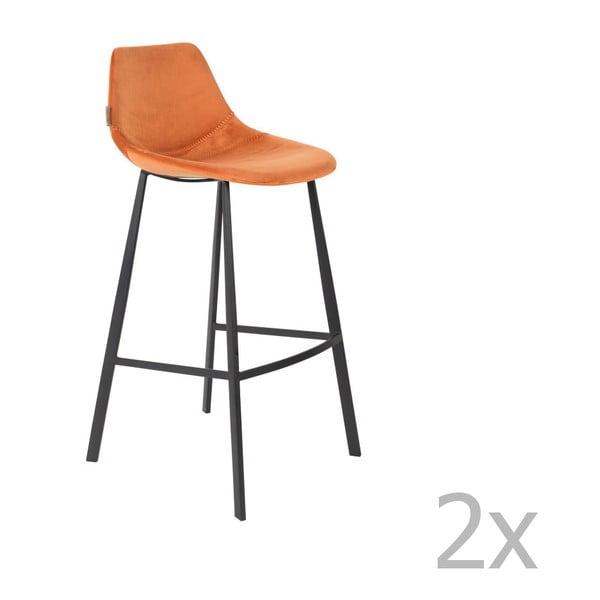 Set 2 scaune bar cu tapițerie catifelată Dutchbone, înălțime 106 cm, portocaliu
