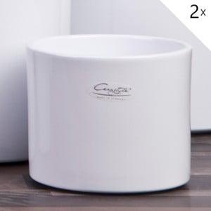 Sada 2 bílých květináčů Ovale, 13 cm
