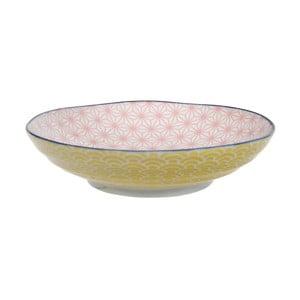 Žluto-růžový porcelánový talíř na těstoviny Tokyo Design Studio Star/Wave