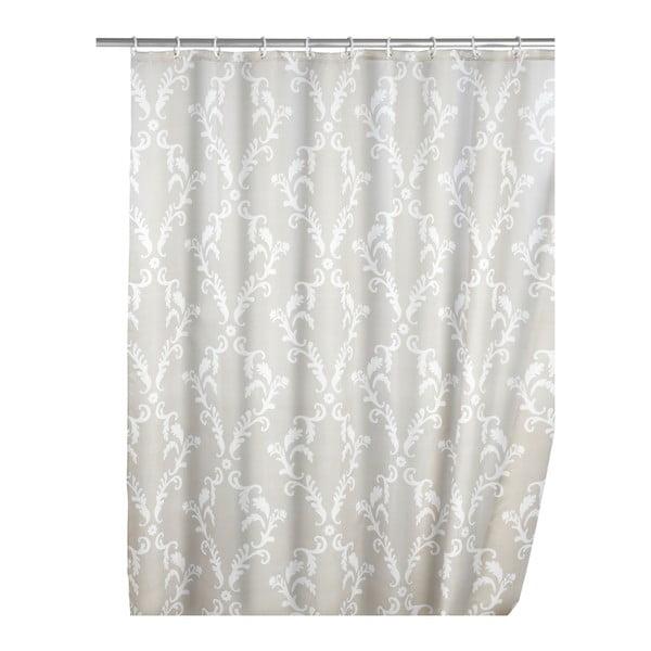 Szara zasłona prysznicowa z warstwą przeciw pleśni Wenko Baroque, 180x200cm