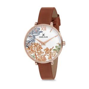 Dámské hodinky s hnědým koženým řemínkem Daniel Klein Floral
