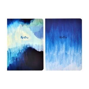Sada 2 zápisníků A5 Portico Designs Blue Abstract