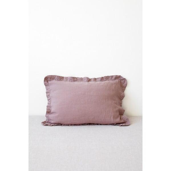 Ciemnoróżowa lniana poszewka na poduszkę z falbanką Linen Tales, 50x60 cm
