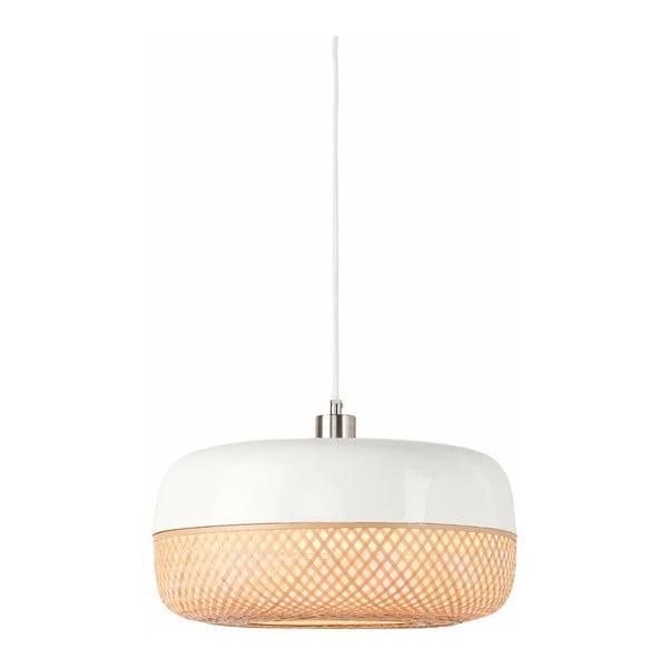 Bielo-hnedé bambusové závesné svetlo Good&Mojo Mekong, priemer 40 cm