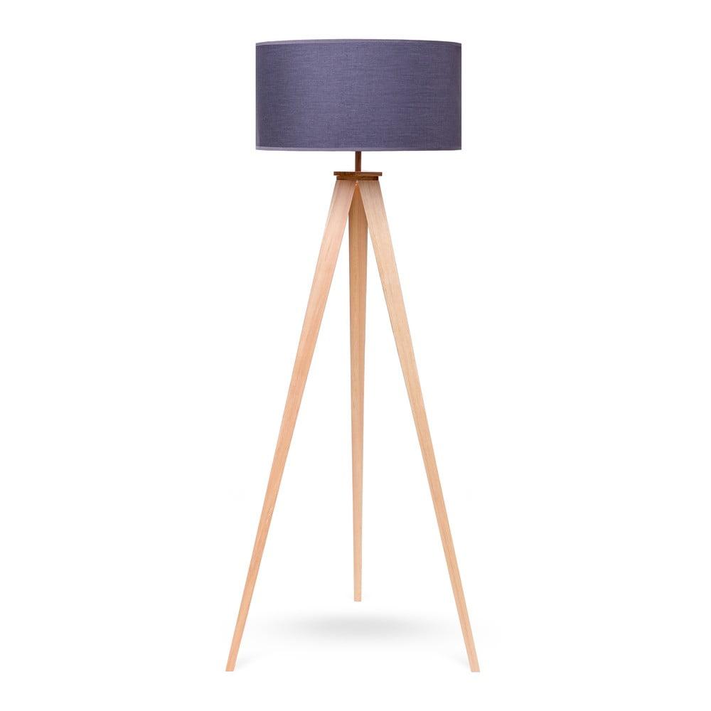Stojací lampa s dřevěnými nohami a šedým stínidlem loomi.design Karol