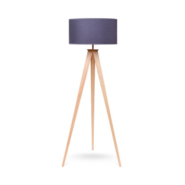 Stojacia lampa s drevenými nohami a sivým tienidlom loomi.design Karol