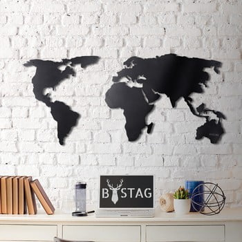 Decorațiune din metal pentru perete Black Map, 60 x 120 cm imagine