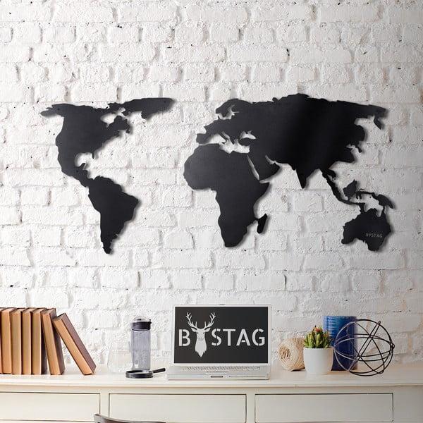 Black Map fém fali dekoráció, 60 x 120 cm