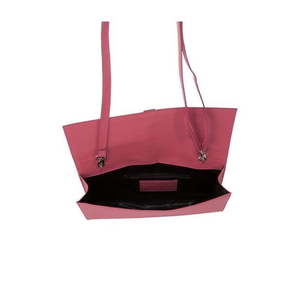 Růžová kožená kabelka Andrea Cardone 1010