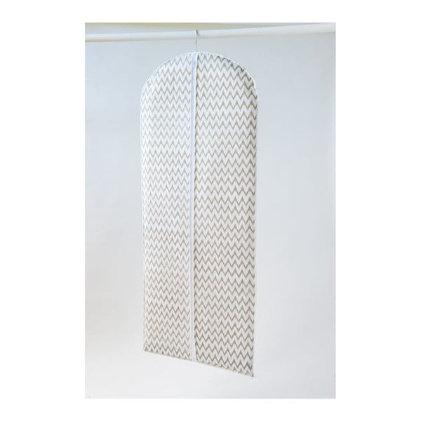 Biały materiałowy pokrowiec na ubrania Compactor Clear, dł. 137 cm