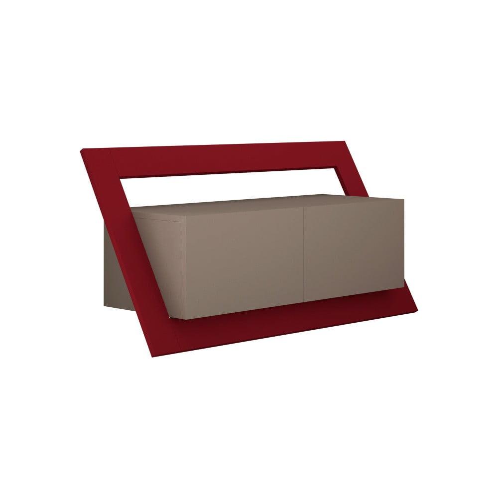Hnědý TV stolek s tmavě červeným detailem Homitis Kayt