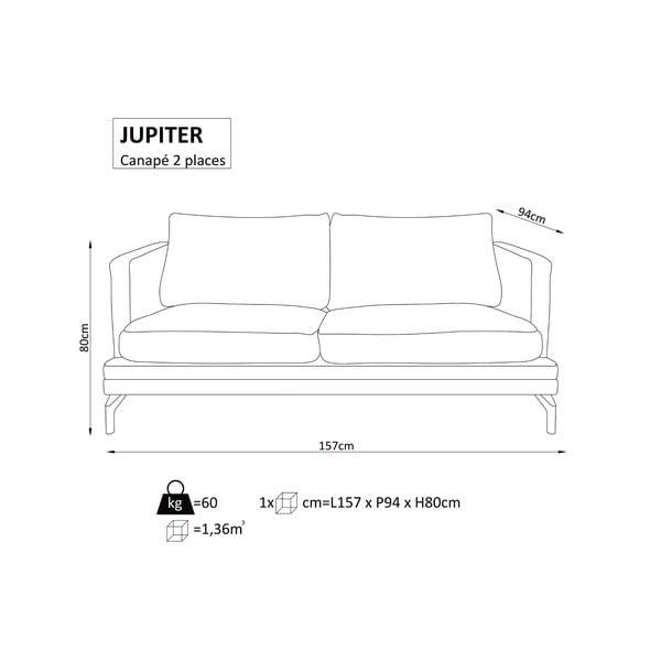 Tyrkysová dvojmístná pohovka s podnožím v černé barvě Windsor & Co Sofas Jupiter