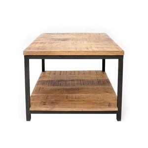 Černý konferenční stolek s deskou z mangového dřeva LABEL51 Vintage, 60 x 60 cm