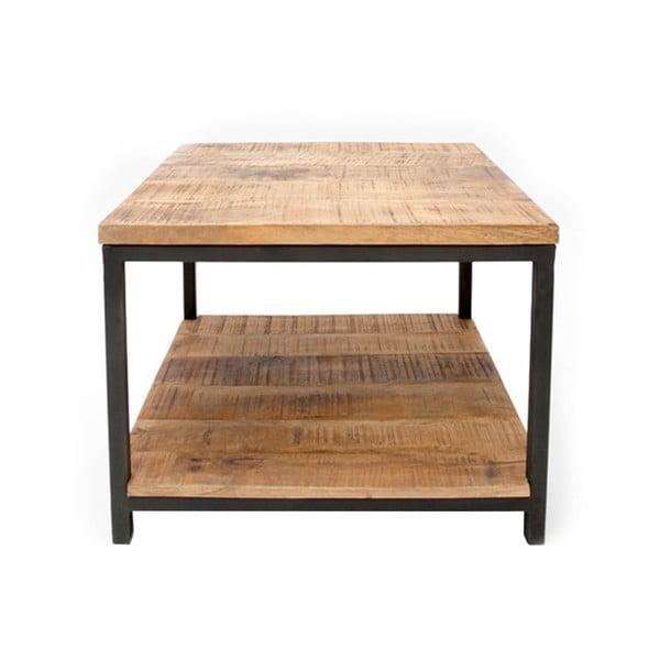 Vintage fekete dohányzóasztal mangófa asztallappal, 60 x 60 cm - LABEL51