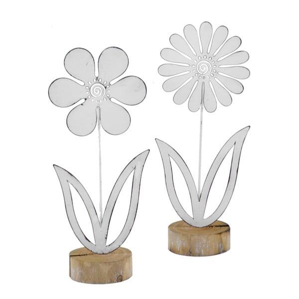 Sada 2 velkých kovových dekorací na dřevěném podstavci s motivem květiny EgoDekor, 12x29 cm
