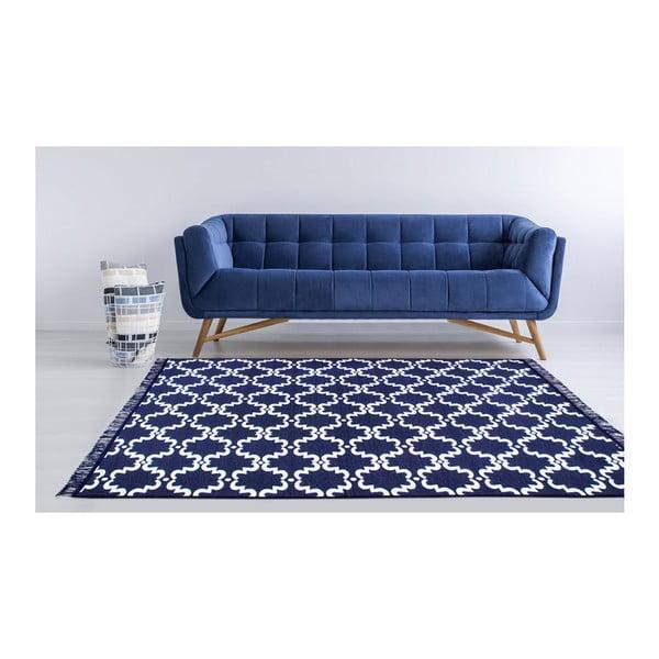 Modro-bílý oboustranný koberec Risus, 80 x 150 cm