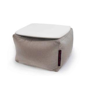 Šedý sedací puf se snímatelnou deskou Pusku pusku Soft